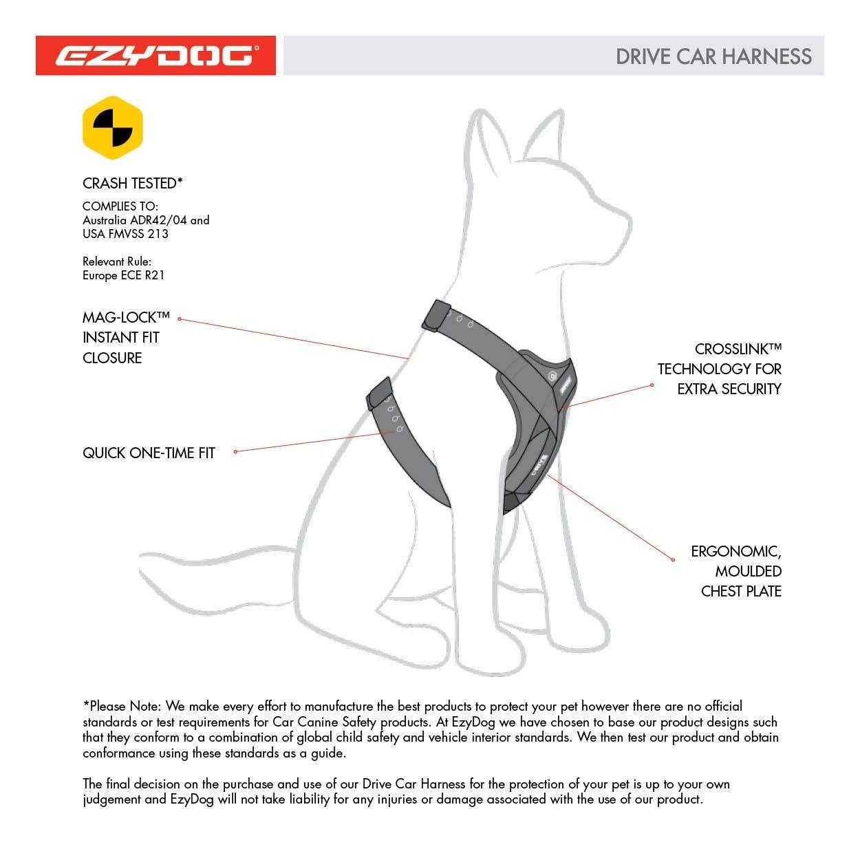 Eigenschaften des Sicherheits-Autogeschirrs EzyDog Drive Harness